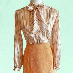 Vintage 70's striped blouse with pussy bow
